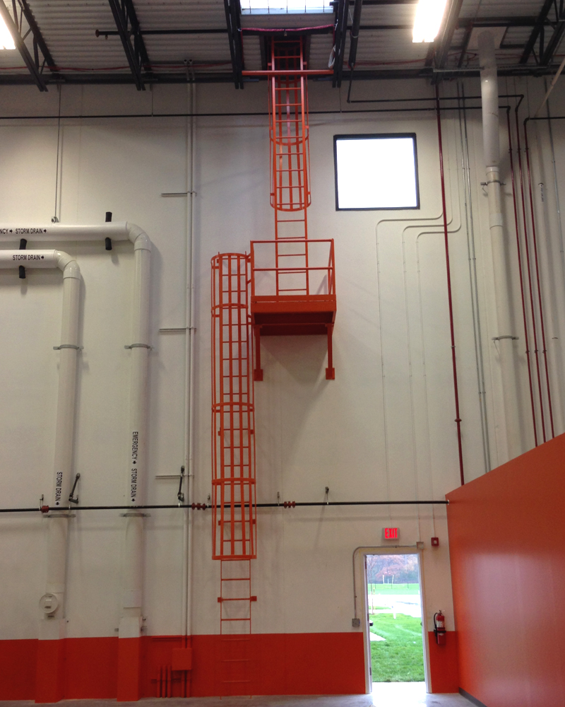 Fixed Ladder With Safety Cage